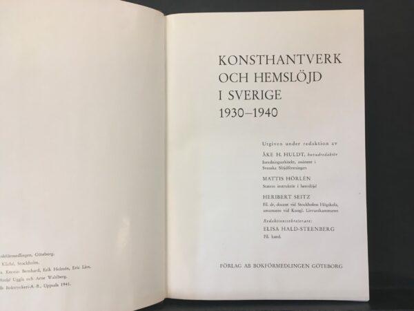 Konsthantverk och hemslöjd i Sverige 1930–1940